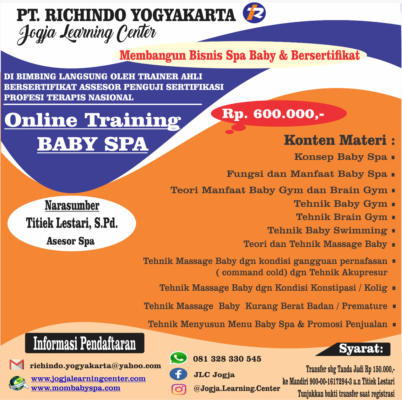 Pelatihan Online Training Baby Spa